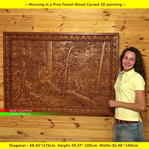68''/172cm Wood carved 3D picture Morning in a Pine Forest, icon orthodox catholic art frame by Wood Carving Dzoz