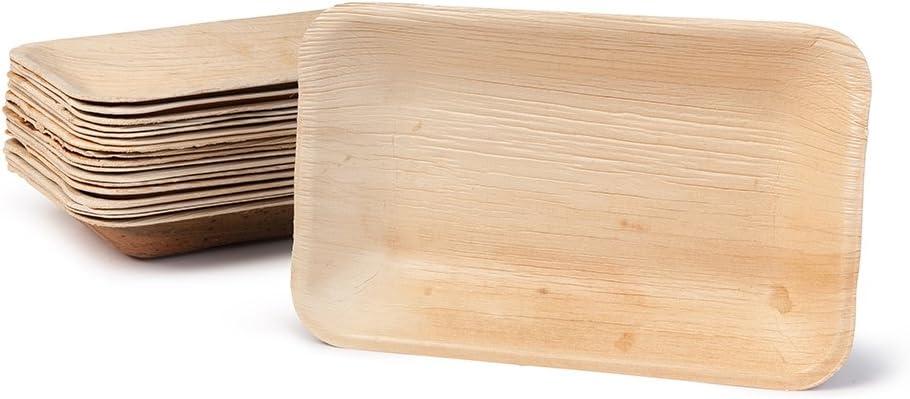 BIOZOYG DTW05319 plato de hoja de palma, 25 uds, rectangular ...