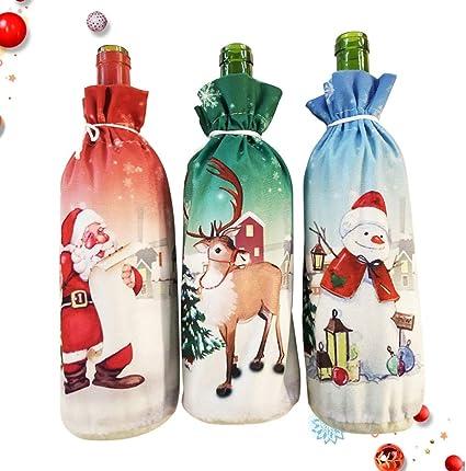 Amosfun Botella de Vino de Navidad Cubre Santa Claus muñeco de Nieve Reno Decoraciones de Botella de Vino Fiesta de Navidad favores Suministros Regalos: Amazon.es: Hogar