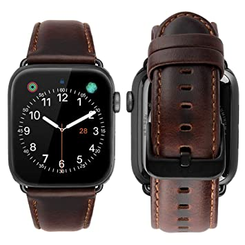 MroTech Compatible para Apple Watch 40mm 38mm Correa Cuero Piel Genuino Pulseras de Repuesto para iWatch Series 5/4/3/2/1 All Models Available 38/40 ...