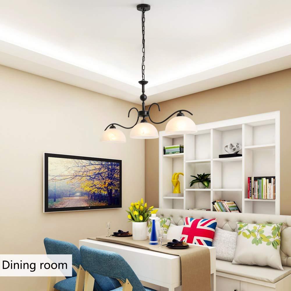 Horisun 3 Lights Handing Pendant Lighting with Glass Shade Elegant Indoor Island Pendant Lamp Retro Chandelier for Dining Room, Kitchen Island