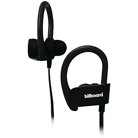 cc2aef6fe30 Amazon.com: Billboard Bluetooth Wireless Hook Over Earbuds With Tangle Free  Flat Cord, Controls and Microphone - Black: Cell Phones & Accessories