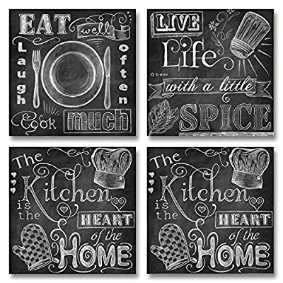 Beautiful, Fun, Chalkboard Kitchen Signs; Messy Kitchen, Heart of the Home, Spice of Life, and Cook Much