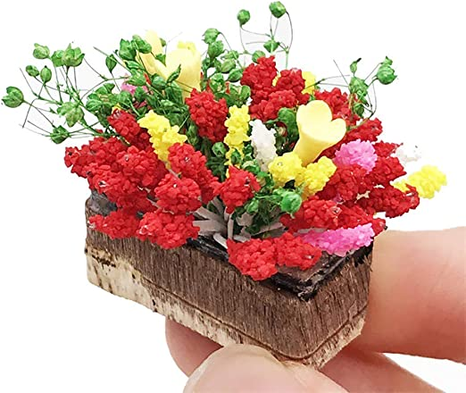 1:12 Doll House miniature potted plant flowers pot dollHouse decor bonsai model`