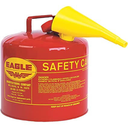 Safety Gas Can >> Eagle Type I Safety Can For Flammables With F 15 Plastic Funnel 5 Gallon Red