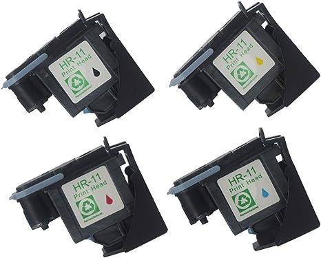 oguan® – Pack de 4 cabezales para repuesto C4810 A HP 11 C4811 A ...