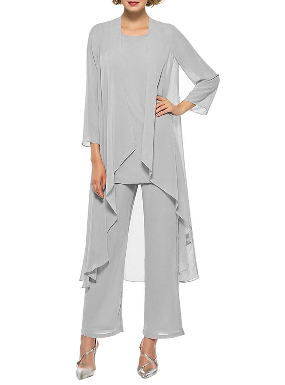 HIDRESS Women's Three Pieces Mother of The Bride Dresses Chiffon Lace Pant Suits with Long Jacket BQ133 Size 22 Silver