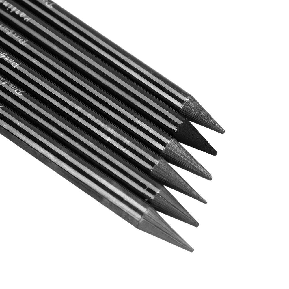 artistas l/ápices de dibujo para ni/ños principiantes trabajadores aspirantes adultos carb/ón suave Juego de 6 l/ápices de grafito sin madera para dibujo HB//2B//4B//6B//8B//EE negro artistas