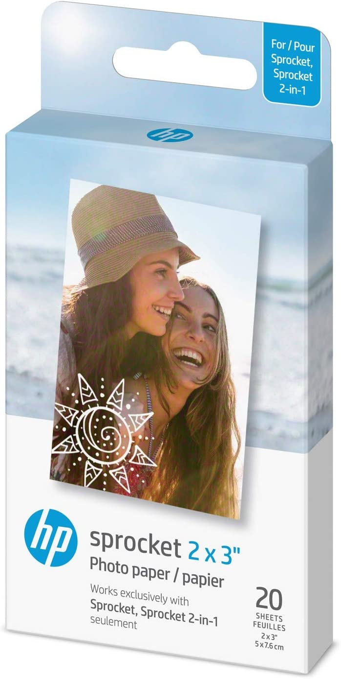 """HP Sprocket 2x3"""" Premium Zink Sticky Back Photo Paper (20 Sheets) Compatible with HP Sprocket Photo Printers.: Camera & Photo"""