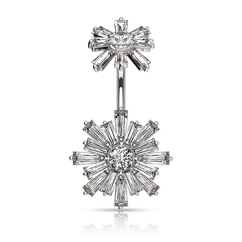 Inspiration Dezigns Double Tiered Baguette CZ Flower with Internally Threaded CZ Flower Top 316L Surgical Steel Belly Button Navel Rings
