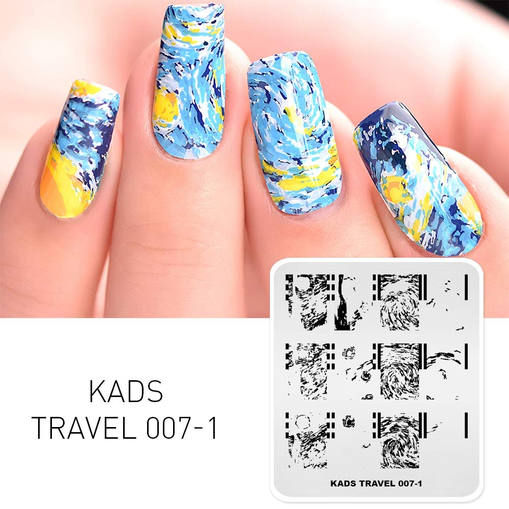 KADS Nail Stamping Plate Van Gogh Starry Night Nail Art Stamp Template DIY Image Template Manicure Stamping Plate Stencil Tools (TR007-1)