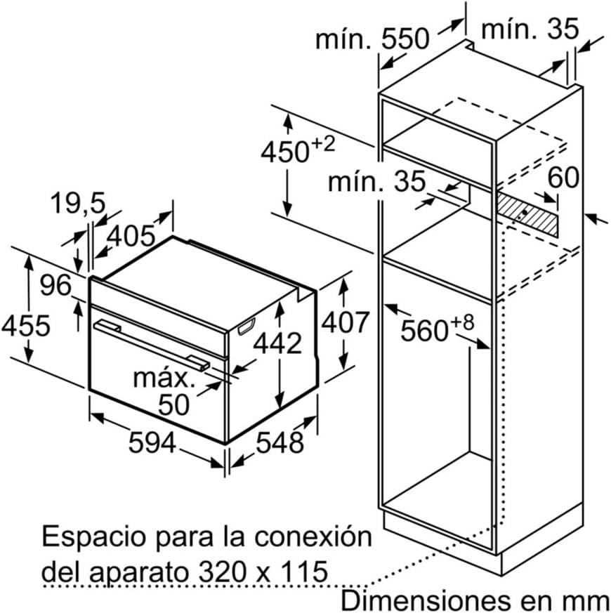 Balay Horno 3CB5878B0 PIROLITICO 45CM Cristal A, 47 litros, Blanco ...
