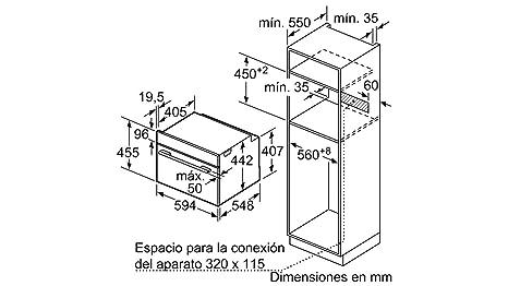 Balay 3CB5351A0 - Horno (Medio, Horno eléctrico, 47 L, 2800 W, 47 L, 0-275 °C): Amazon.es: vencobaix