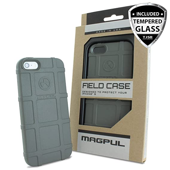 cheap for discount cdcd4 d187c iPhone SE Case, iPhone 5S/5 Case, Magpul [Field] Polymer Drop Protection  Case Cover MAG452 Retail Packaging for Apple iPhone SE/5S/5 + TJS Tempered  ...