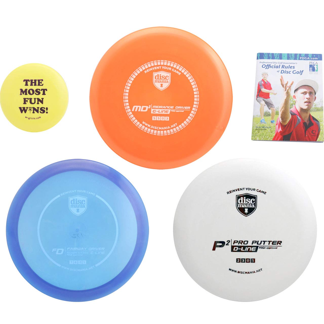 Discmania Complete Disc Golf Variety Gift Set - Driver, Mid-Range & Putter + Mini Marker Disc, Rules (5 Items, Colors May Vary) (3 Discs (Driver, mid-Range, Putter, Extras))