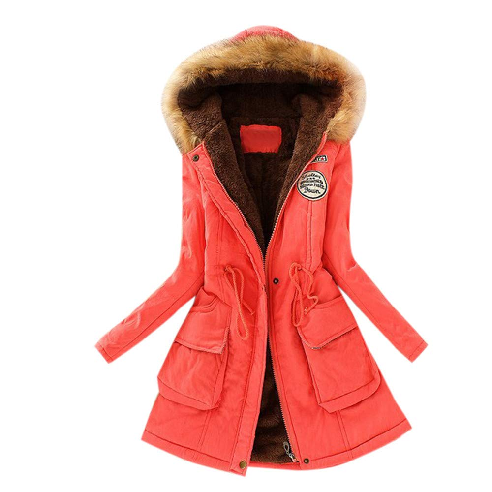 Coupondeal Womens Warm Long Coat Fur Collar Hooded Jacket Slim Winter Parka Outwear Coats(Watermelon Red,XL) by Coupondeal