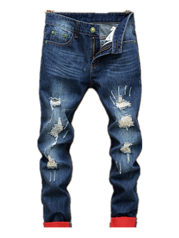 Jaycargogo Mens Elastic Waist Drawstring Regular Fit Denim Jeans Pants