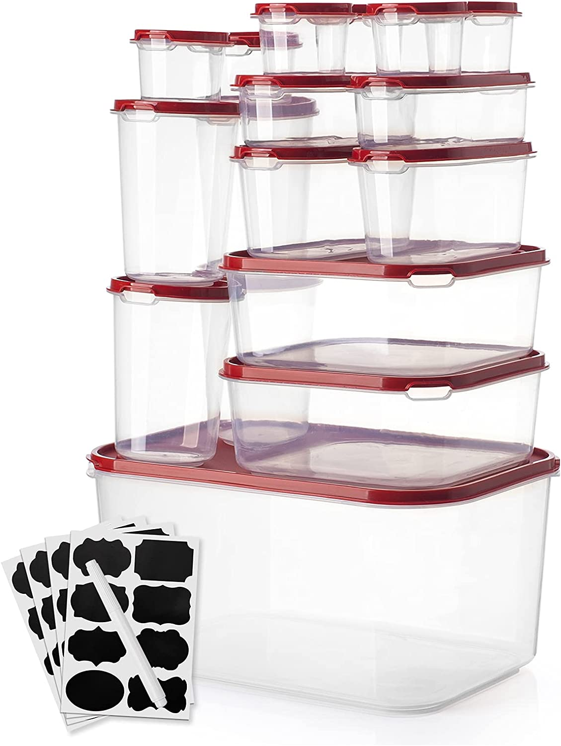 [Large] Food Storage Containers with Lids, 17 Packs Plastic Containers for Food Storage - Airtight & BPA-Free & Microwave, Dishwasher Safe Storage Container for Rice, Flour & Leftovers