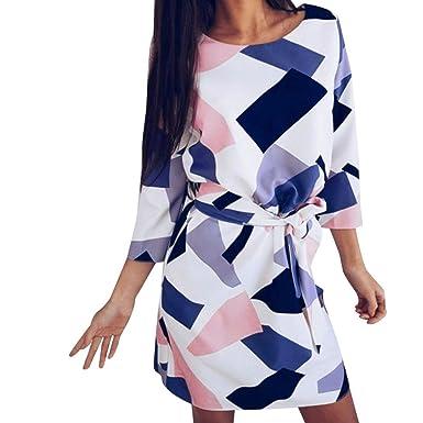 c9fcfd0313157 HCFKJ- Kleid, Damen Sommer 2018 Colorblock Druck DREI Viertel Kleid Party  Short Beach Minikleid