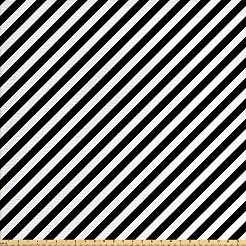 Diagonal Accent - Lunarable Striped Fabric by The Yard, Diagonal Stripes Monochrome Pattern Abstract Geometric Elements Retro Inspirations, Decorative Fabric for Upholstery and Home Accents, Black White