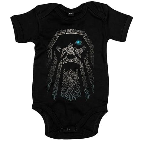 Body bebé rostro del dios vikingo Odín Vikings - Negro, 6-12 meses