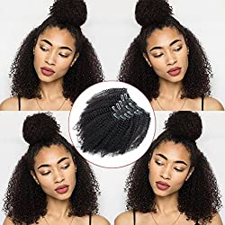 Lovrio Afro Kinkys Curly Clip Ins Brazilian Virgin Hair Extensions Big Thick Double Weft Real Remy Hair for Black Women 7 Pieces 120g 12 Inch
