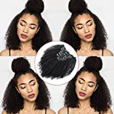Lovrio Afro Kinkys Curly Virgin Brazilian Clip in Human Hair Extensions Double Weft Real Remy Hair for Black Women 7 Pieces 120g with 17 Clips 16 Inch