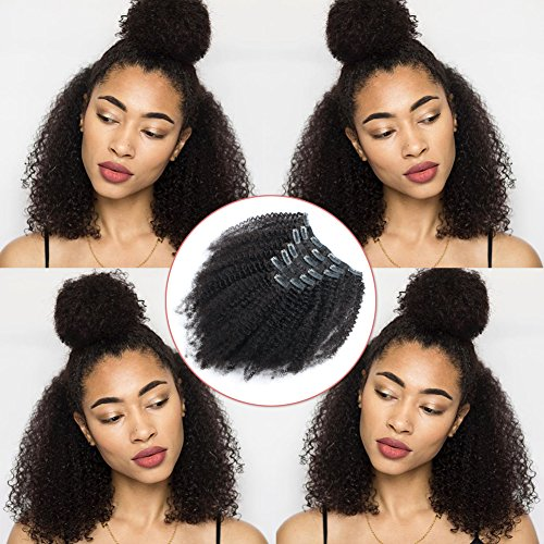 Lovrio Afro Kinkys Curly Brazilian Virgin 100% Unprocessed Double Weft Human Hair Clip in Hair Extensions for Black Women 7 Pieces 120g with 17 Clips 14 Inch (Best Clip In Hair Extensions For Black Women)