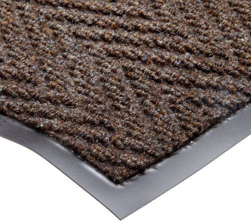 NoTrax T40 Chevron Heavier Weight Carpet Mat, for Wet and Dry Areas, 2' Width x 3' Length x 5/16'' Thickness, Dark Brown by NoTrax Floor Matting