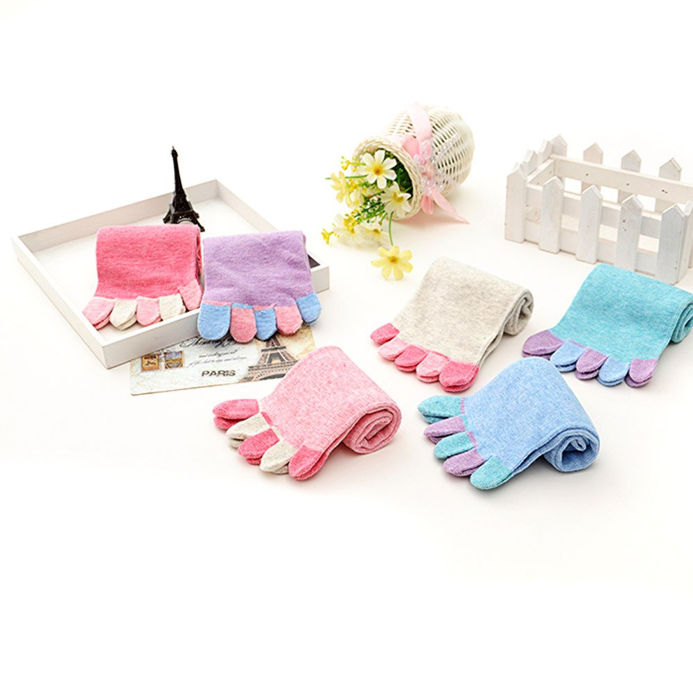 MAXGOODS Women Toe Socks Cotton Socks Casual Athletic Trainer, 6 Pairs