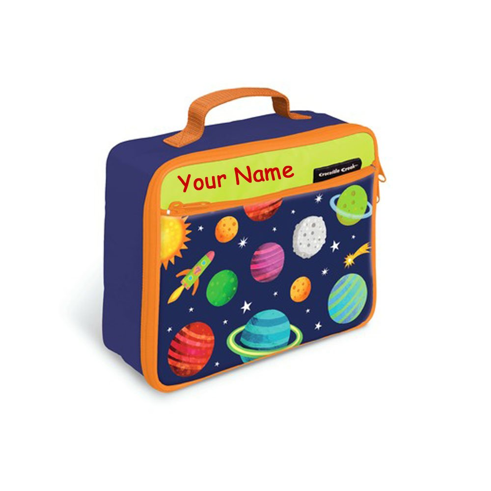 Personalized Crocodile Creek Kids Solar System with Rocket Ship Blue and Orange Lunchbox Lunch Bag Tote