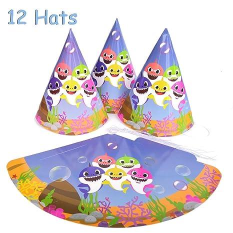 Amazon.com: 12 sombreros de fiesta de tiburón para bebé ...