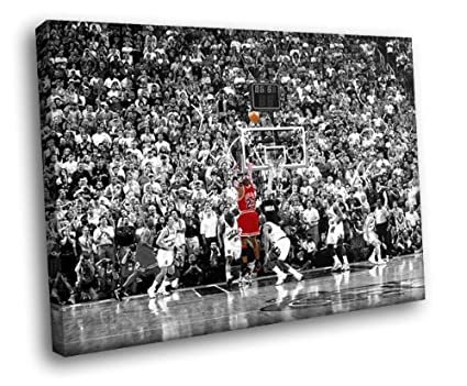Hd8891 michael jordan jump shot utah jazz nba 16x12 framed canvas print