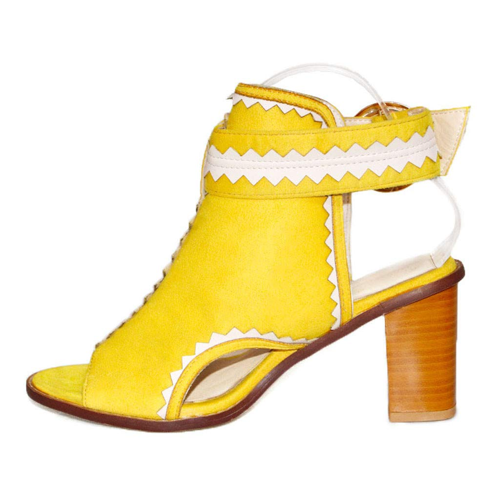 Dermanony Womens High Heel Sandals Fashion Open Toe Buckle Strap Casual Shoes Retro Hollow Out Pumps Roman Sandals Yellow by Dermanony _Shoes