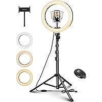 """ELEGIANT 10 """"Selfiestativ Ljus ring, LED Ring Light med mobilhållare med dimbar fjärrkontroll för livestreaming, Makeup…"""