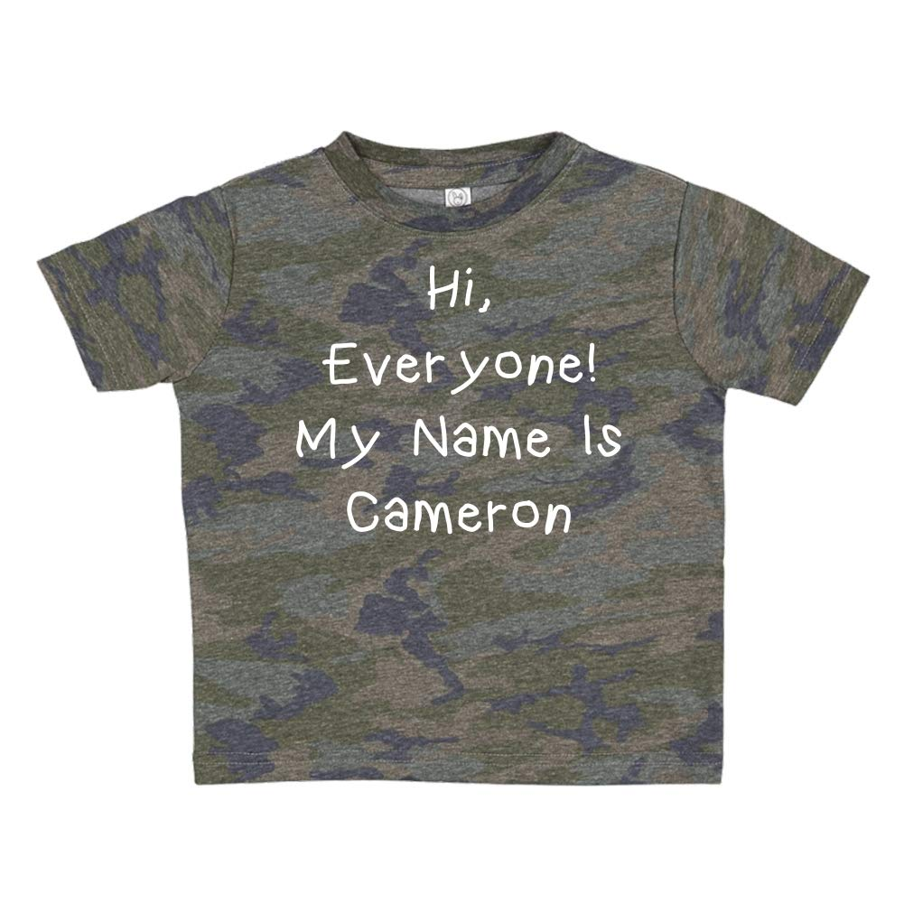 My Name is Cameron Mashed Clothing Hi Everyone Personalized Name Toddler//Kids Short Sleeve T-Shirt