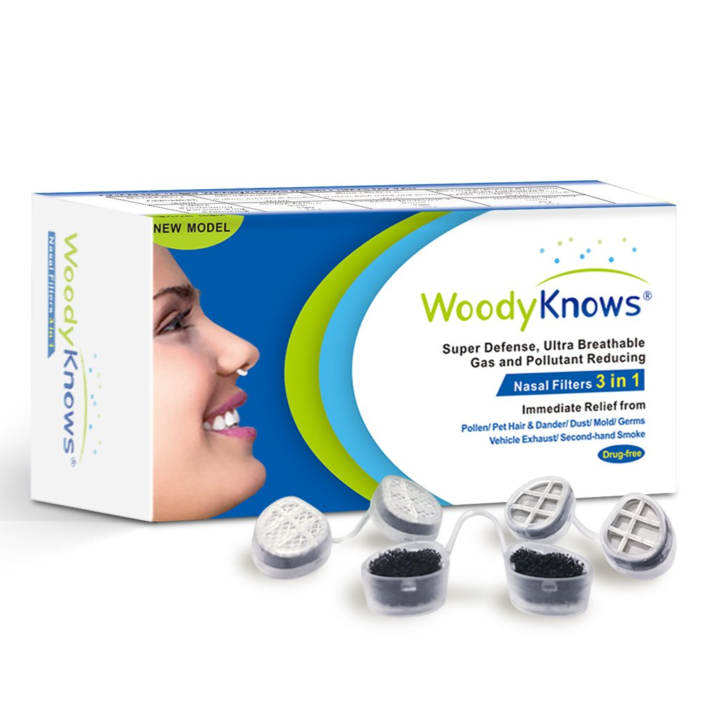 WoodyKnows 3 in 1 Nose Filters, Nasal Filters for Allergy Allergies, Combine Ultra Breathable, Super Defense and Gas & Pollutant Reducing Nasal Screens Dust Mask(3 Frames and 6 Pairs of Filters)(II-R)