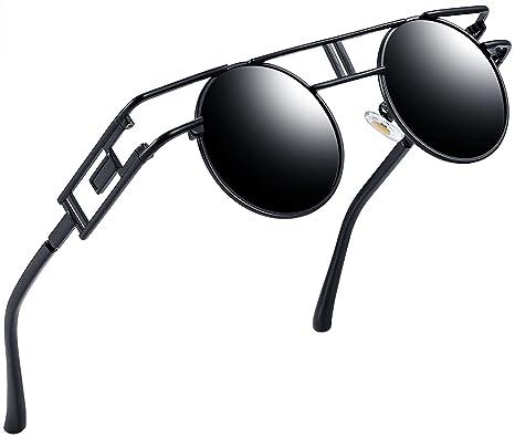 e39079af42ff6 Joopin-Round Retro Polaroid Sunglasses Driving Polarized Glasses Men  Steampunk (Black Steampunk