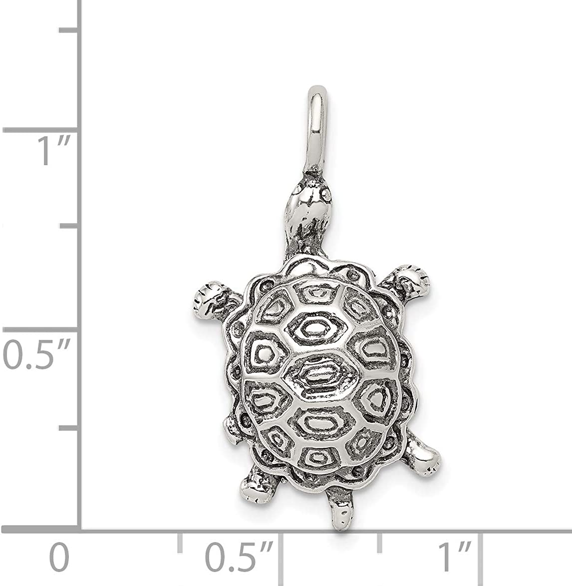 Mireval Sterling Silver Antiqued Turtle Pendant approximately 30 x 16 mm