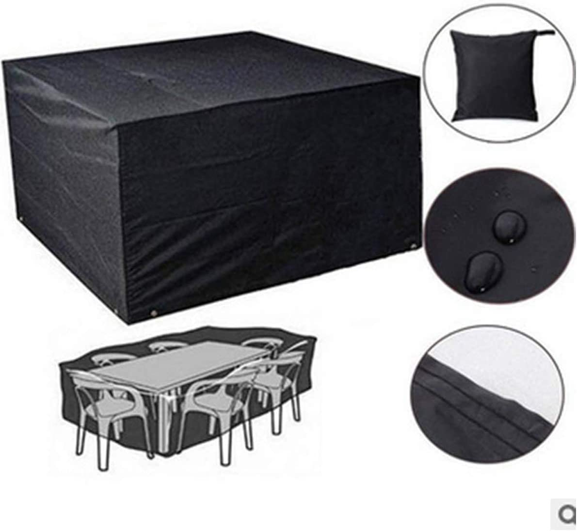 Suesung Waterproof Outdoor Furniture Covers, Oxford Cloth Square Heavy Duty Table Cover A8 106 x71 x35 , Black