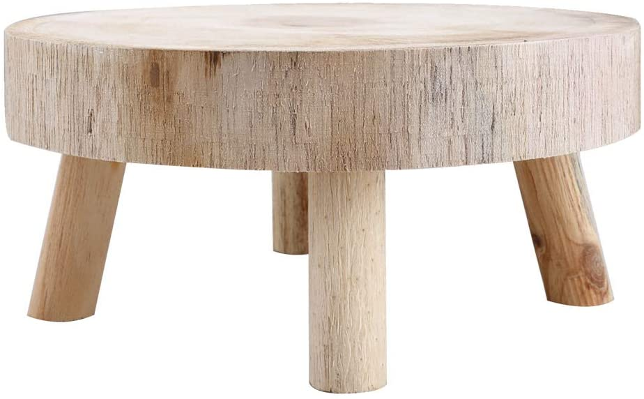 UNIE Mini Wooden Stool Round Garden Flower Display Stand Decorative Short Stool for Indoor Outdoor Office Dining Room