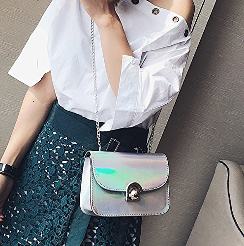Bag with Mini PU Silver Cross Body Fashion Boutique Leather Chain Party Shoulder Novias Bag Silver Women 7qPxw4