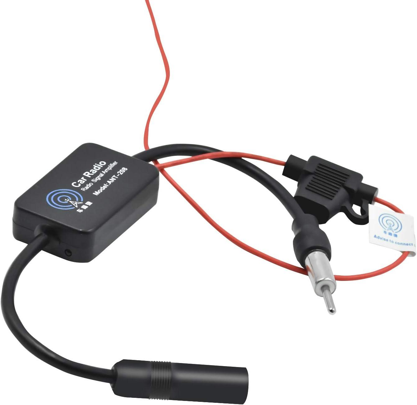 Antena Amplificador Radio Am//FM//Dab Coche Fortalecimiento de Se/ñal Negro WEKON Amplificador de Se/ñal de Radio de Coche Atena Amplificador de Radio Auto