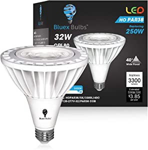 BlueX PAR38 LED High-Power Bulb - 32W (250 Watt Equivalent) 3300 Lumens E26 Base 5000K Super Bright All Weather Flood Spot Light Night Chaser - Use for Security Bulb - for Backyard, Garage, Porch