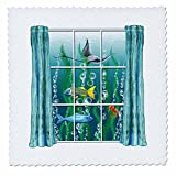 3dRose Dream Essence Designs-The Ocean - A surreal scene of a room with view to ocean life through the window. - 22x22 inch quilt square (qs_266098_9)