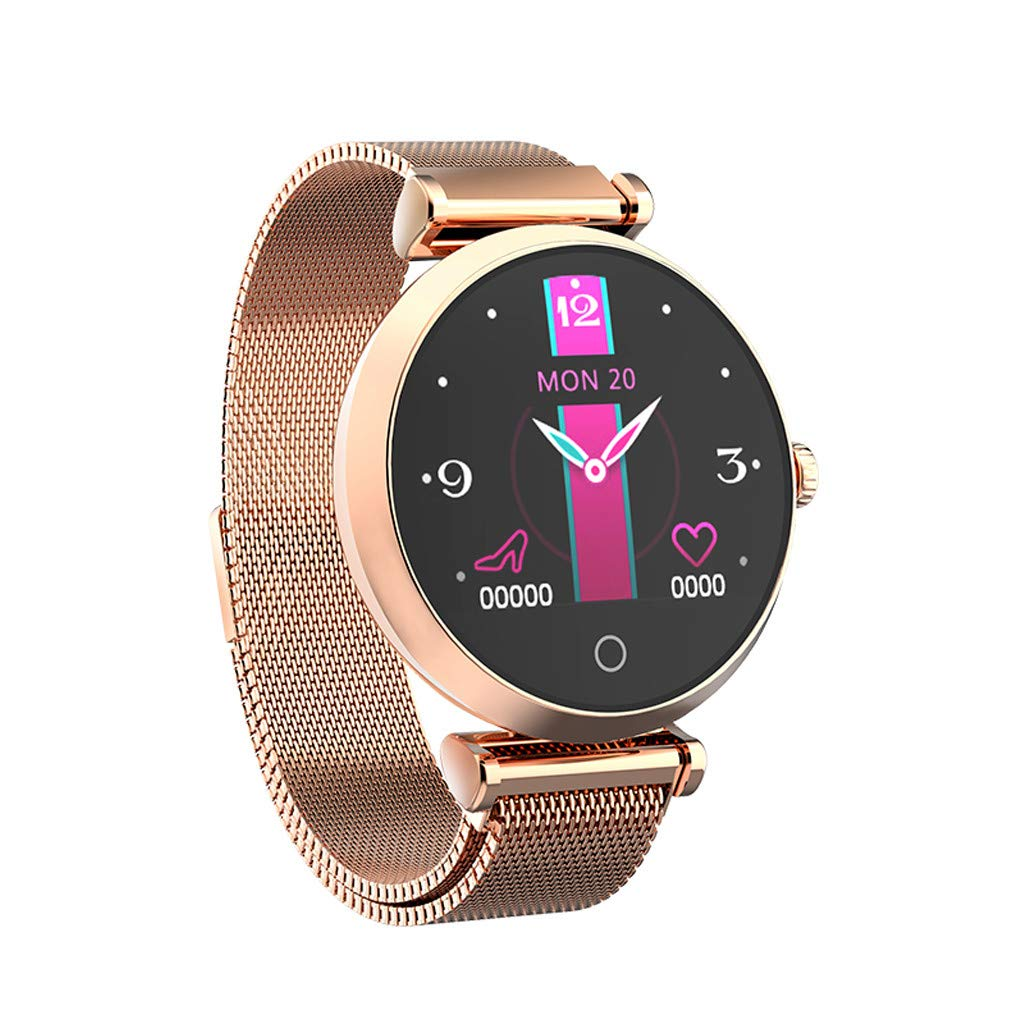 LLJEkieee R6 Women Fashion Smart Watch Waterproof Level IP67 Heart Rate Monitor Touch Screen Smartwatch Blood Pressure Watch Pedometer for Android iOS (Rose Gold)