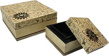 Guru-Shop Caja de Madera Pintada a Mano, Caja de Joyería `Bagru`