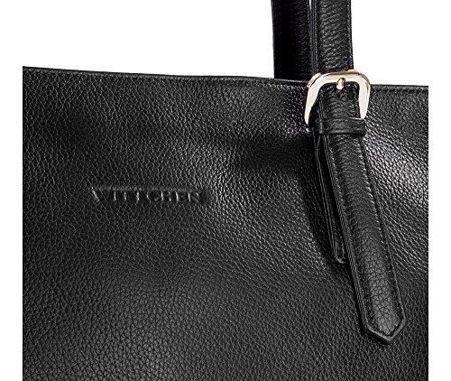 Borsa Di Cuoio Di Eleganza Wittchen | Colore: Nero | Materiale: Pelle Fiore | Altezza (cm): 29 - Larghezza (cm): 40 | Collezione: Eleganza | 83-4e-494-1