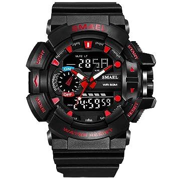 WULIFANG Relojes Deportivos 50M Impermeable Reloj De Hombre S Vibración La Moda Masculina Reloj Reloj Led Reloj Digital De Buceo Rojo: Amazon.es: Deportes y ...