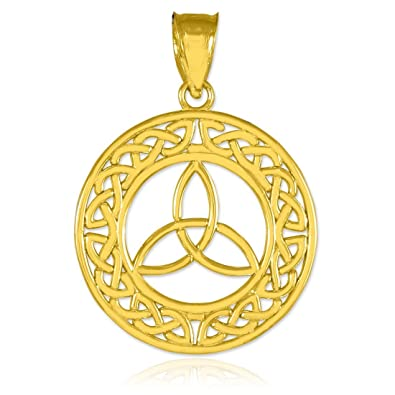 Amazon round 14k gold trinity pendant celtic knot necklace round 14k gold trinity pendant aloadofball Gallery
